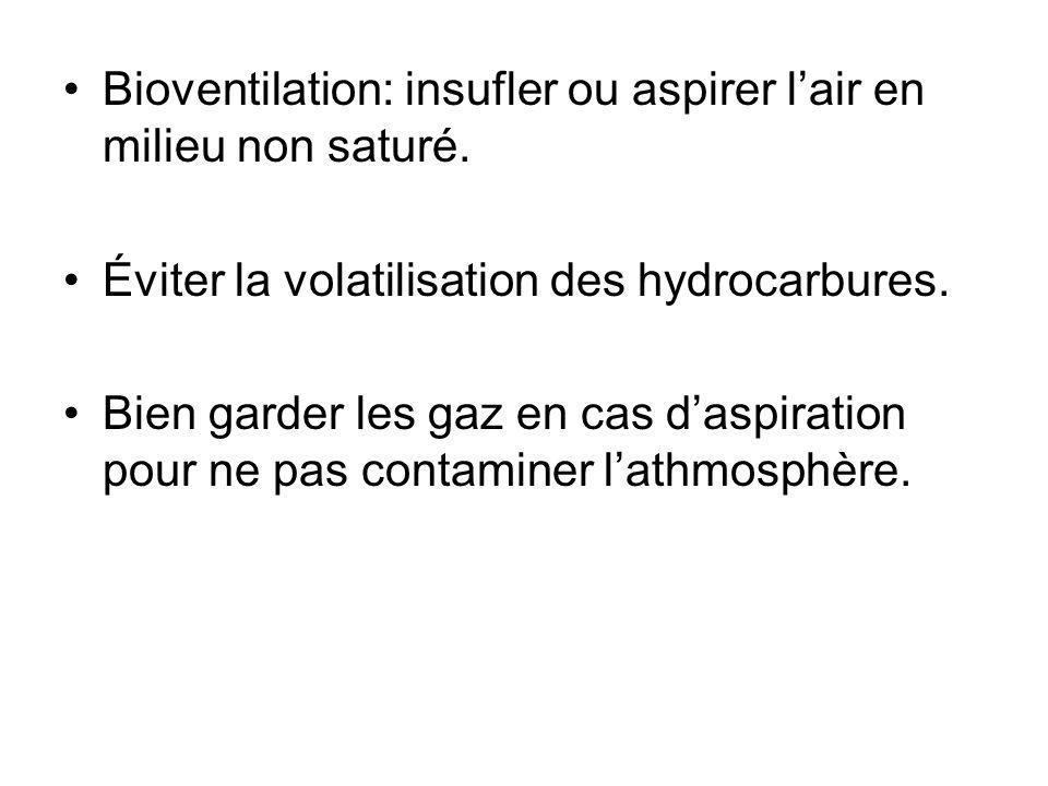 Bioventilation: insufler ou aspirer lair en milieu non saturé. Éviter la volatilisation des hydrocarbures. Bien garder les gaz en cas daspiration pour
