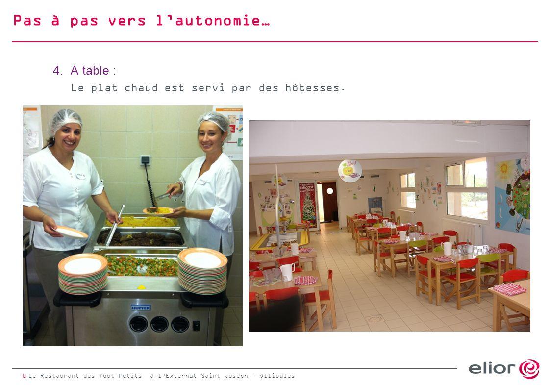 Pas à pas vers lautonomie… 5.Place nette : A l issue du repas les enfants prédébarassent la table.