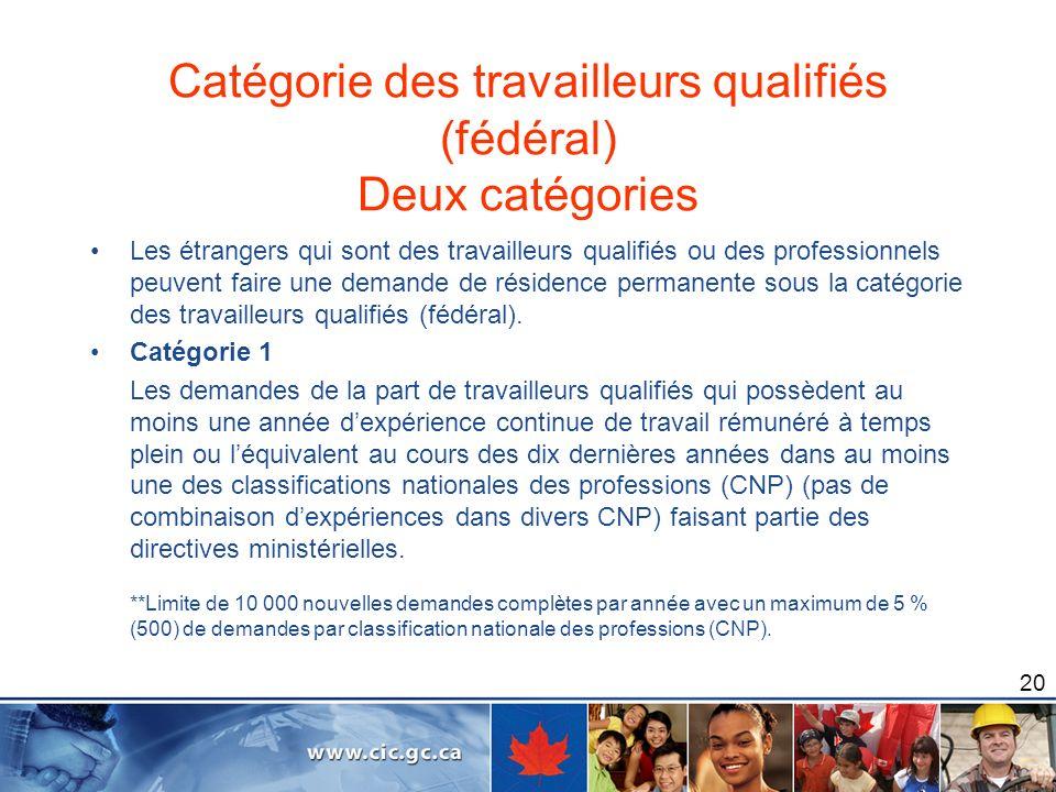 20 Catégorie des travailleurs qualifiés (fédéral) Deux catégories Les étrangers qui sont des travailleurs qualifiés ou des professionnels peuvent fair