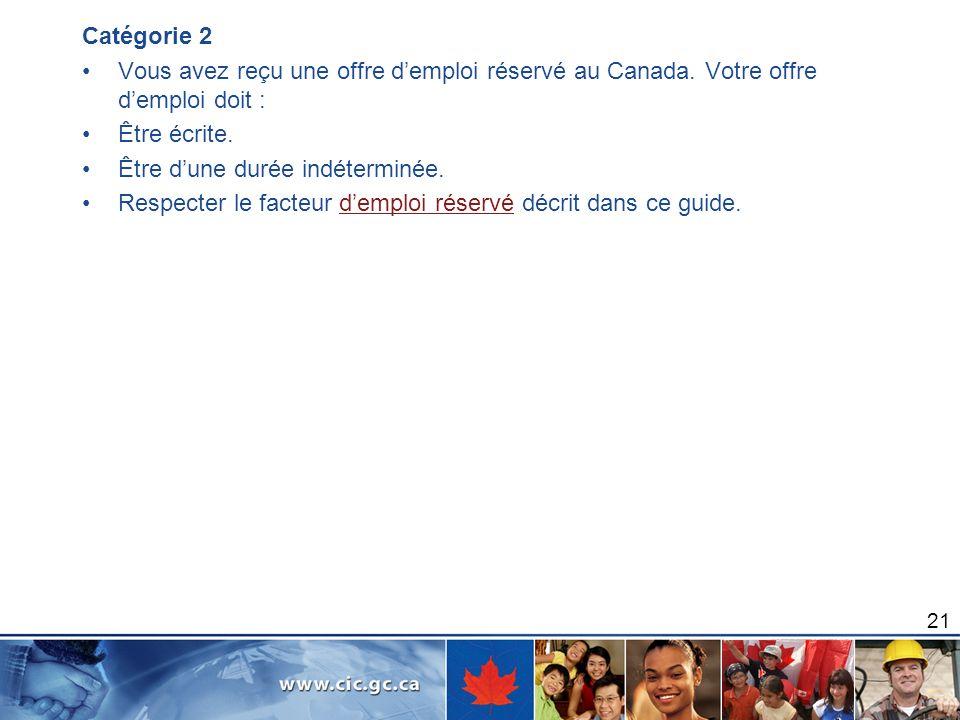 Catégorie 2 Vous avez reçu une offre demploi réservé au Canada. Votre offre demploi doit : Être écrite. Être dune durée indéterminée. Respecter le fac
