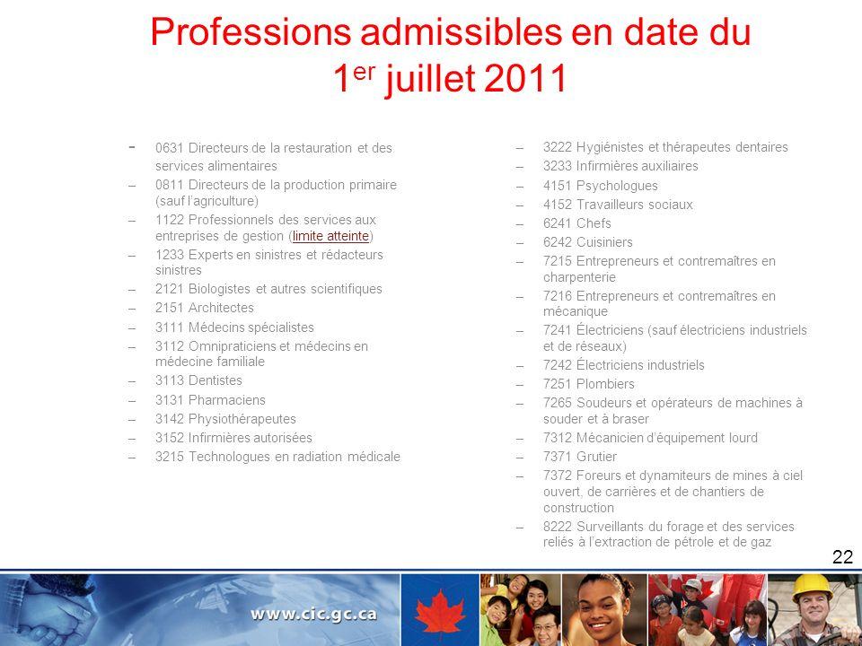 Professions admissibles en date du 1 er juillet 2011 22 - 0631 Directeurs de la restauration et des services alimentaires –0811 Directeurs de la produ