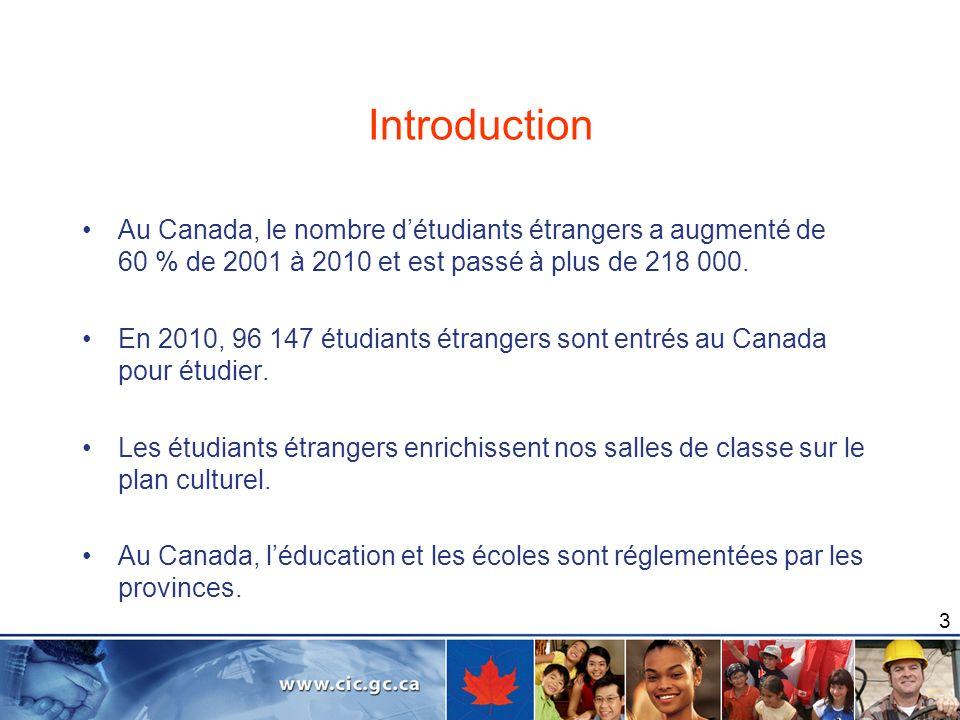 3 Introduction Au Canada, le nombre détudiants étrangers a augmenté de 60 % de 2001 à 2010 et est passé à plus de 218 000. En 2010, 96 147 étudiants é