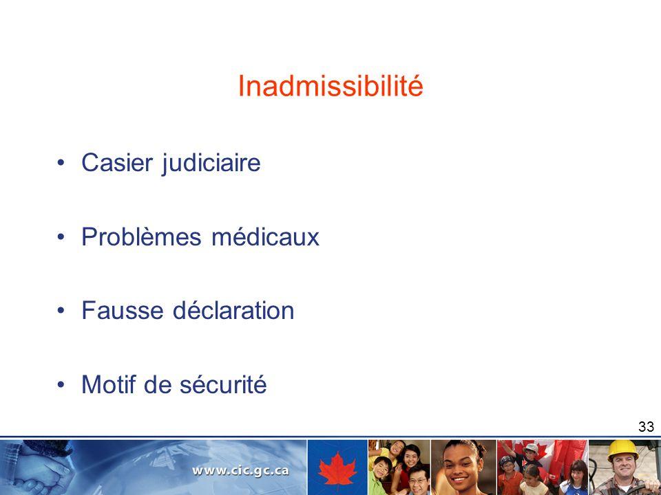 33 Inadmissibilité Casier judiciaire Problèmes médicaux Fausse déclaration Motif de sécurité