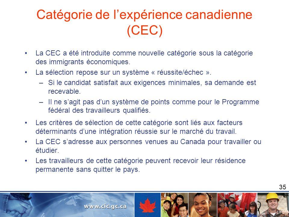 35 Catégorie de lexpérience canadienne (CEC) La CEC a été introduite comme nouvelle catégorie sous la catégorie des immigrants économiques. La sélecti