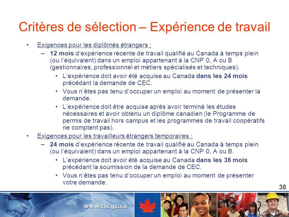 38 Exigences pour les diplômés étrangers : –12 mois dexpérience récente de travail qualifié au Canada à temps plein (ou léquivalent) dans un emploi ap