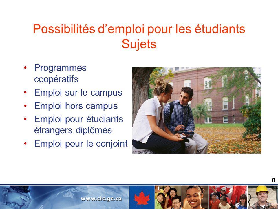 8 Possibilités demploi pour les étudiants Sujets Programmes coopératifs Emploi sur le campus Emploi hors campus Emploi pour étudiants étrangers diplôm