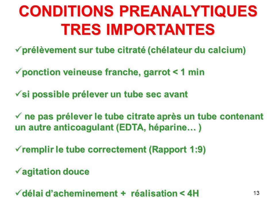 13 CONDITIONS PREANALYTIQUES TRES IMPORTANTES prélèvement sur tube citraté (chélateur du calcium) prélèvement sur tube citraté (chélateur du calcium)
