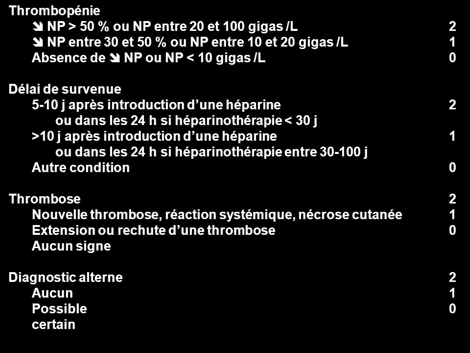 51 210210210210 210210210210 Thrombopénie NP > 50 % ou NP entre 20 et 100 gigas /L NP entre 30 et 50 % ou NP entre 10 et 20 gigas /L Absence de NP ou