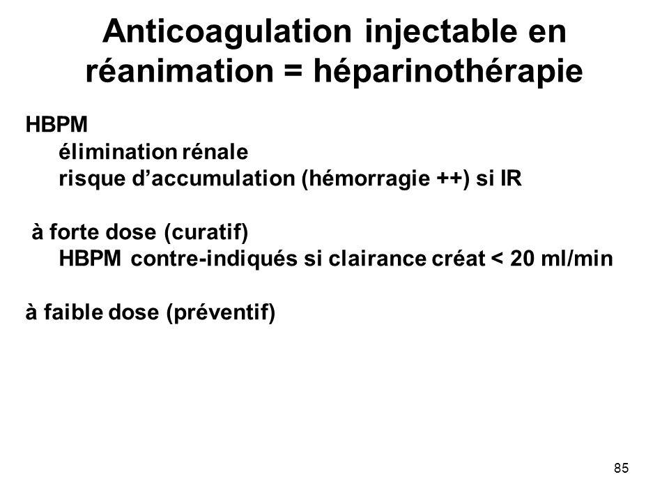85 Anticoagulation injectable en réanimation = héparinothérapie HBPM élimination rénale risque daccumulation (hémorragie ++) si IR à forte dose (curat