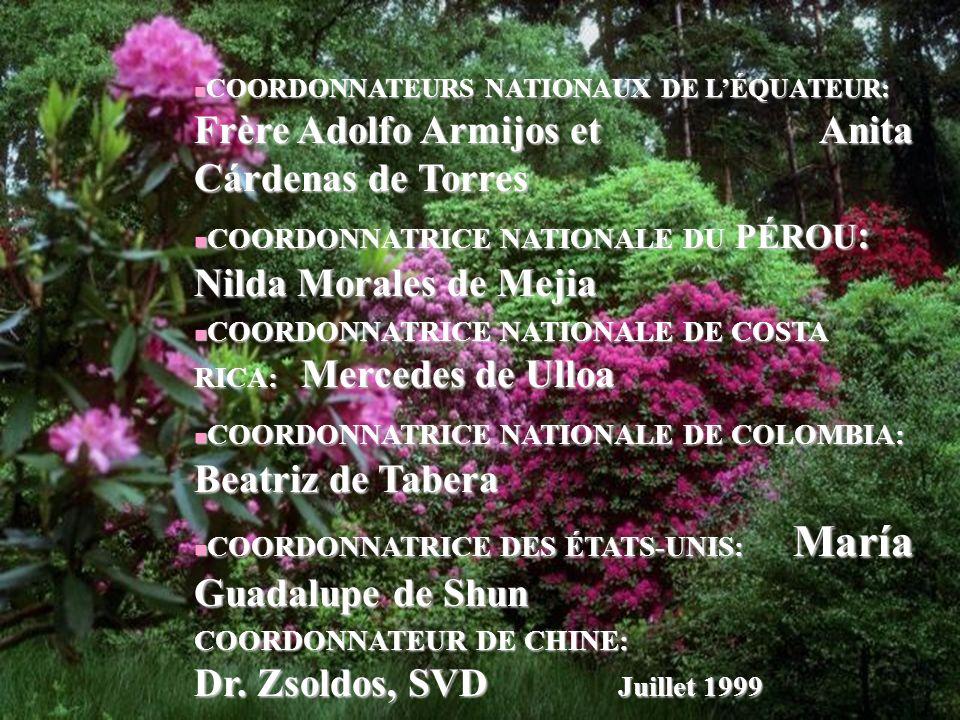 18 COORDONNATEURS NATIONAUX DE LÉQUATEUR: Frère Adolfo Armijos et Anita Cárdenas de Torres COORDONNATEURS NATIONAUX DE LÉQUATEUR: Frère Adolfo Armijos et Anita Cárdenas de Torres COORDONNATRICE NATIONALE DU PÉROU : Nilda Morales de Mejia COORDONNATRICE NATIONALE DU PÉROU : Nilda Morales de Mejia COORDONNATRICE NATIONALE DE COSTA RICA: Mercedes de Ulloa COORDONNATRICE NATIONALE DE COSTA RICA: Mercedes de Ulloa COORDONNATRICE NATIONALE DE COLOMBIA: Beatriz de Tabera COORDONNATRICE NATIONALE DE COLOMBIA: Beatriz de Tabera COORDONNATRICE DES ÉTATS-UNIS: María Guadalupe de Shun COORDONNATRICE DES ÉTATS-UNIS: María Guadalupe de Shun COORDONNATEUR DE CHINE: Dr.