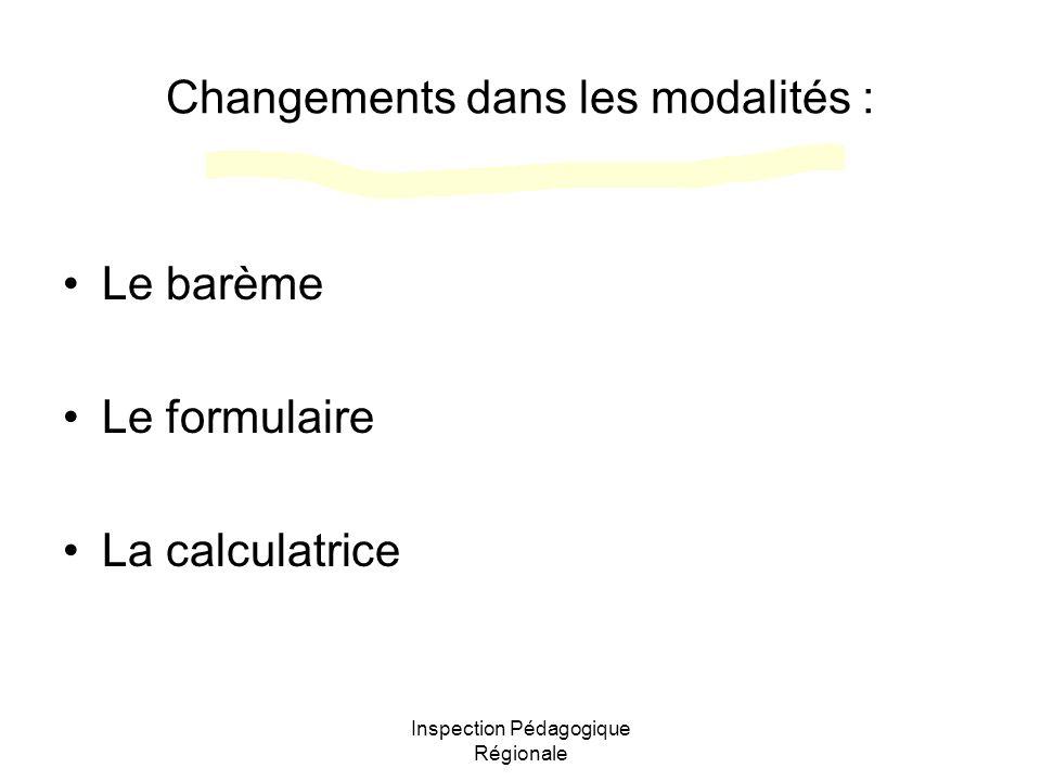 Inspection Pédagogique Régionale Changements dans les modalités : Le barème Le formulaire La calculatrice