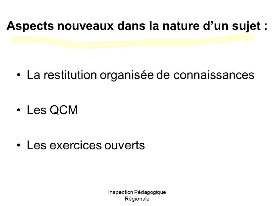 Inspection Pédagogique Régionale Aspects nouveaux dans la nature dun sujet : La restitution organisée de connaissances Les QCM Les exercices ouverts
