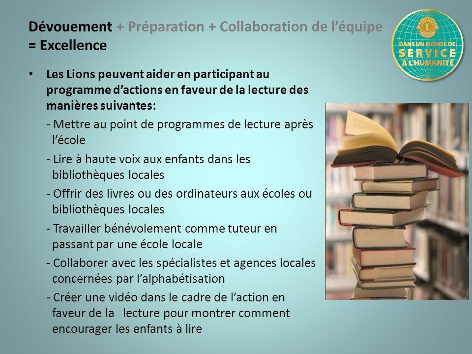 Dévouement + Préparation + Collaboration de léquipe = Excellence Les Lions peuvent aider en participant au programme dactions en faveur de la lecture