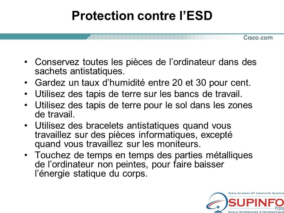 Protection contre lESD Conservez toutes les pièces de lordinateur dans des sachets antistatiques.