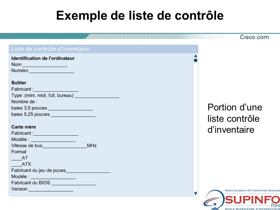 Exemple de liste de contrôle Portion dune liste contrôle dinventaire