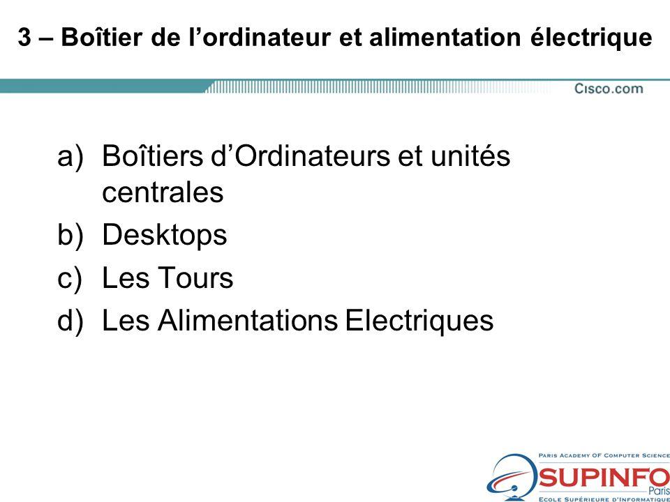 3 – Boîtier de lordinateur et alimentation électrique a)Boîtiers dOrdinateurs et unités centrales b)Desktops c)Les Tours d)Les Alimentations Electriques