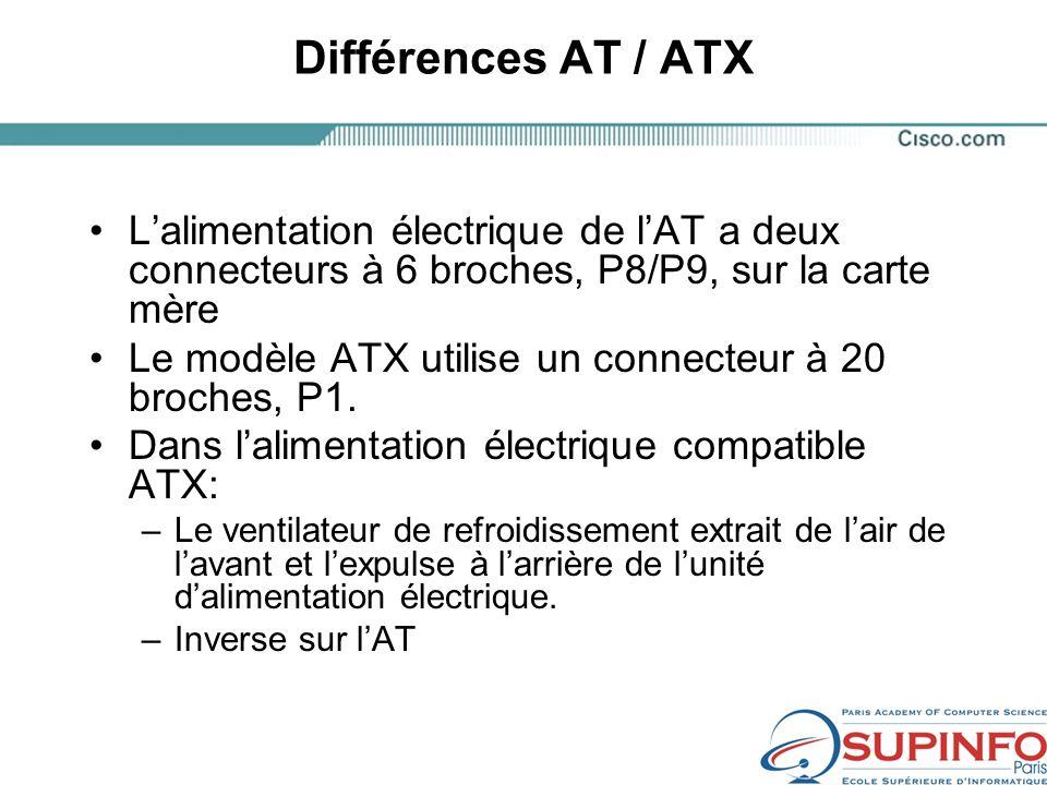 Différences AT / ATX Lalimentation électrique de lAT a deux connecteurs à 6 broches, P8/P9, sur la carte mère Le modèle ATX utilise un connecteur à 20 broches, P1.