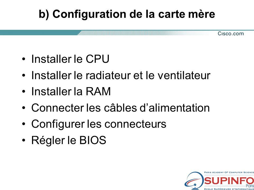b) Configuration de la carte mère Installer le CPU Installer le radiateur et le ventilateur Installer la RAM Connecter les câbles dalimentation Configurer les connecteurs Régler le BIOS