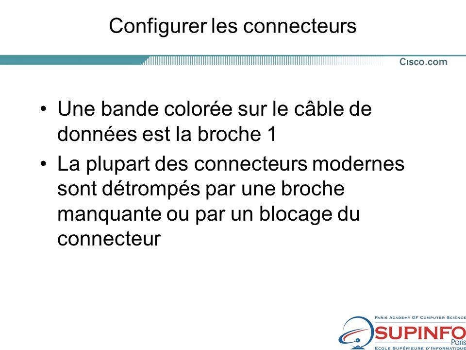 Configurer les connecteurs Une bande colorée sur le câble de données est la broche 1 La plupart des connecteurs modernes sont détrompés par une broche manquante ou par un blocage du connecteur