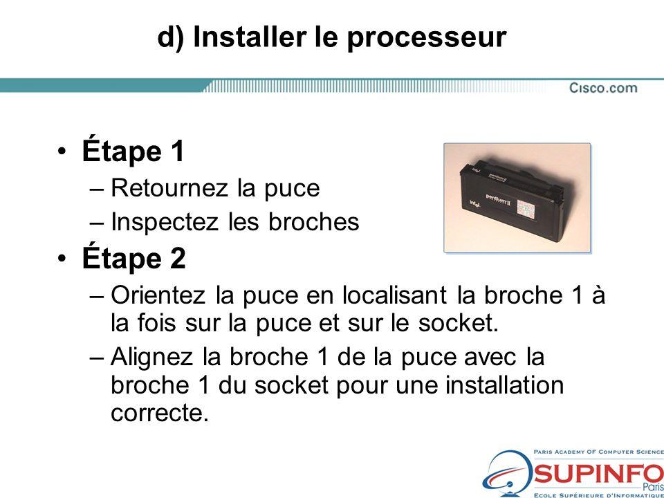 d) Installer le processeur Étape 1 –Retournez la puce –Inspectez les broches Étape 2 –Orientez la puce en localisant la broche 1 à la fois sur la puce et sur le socket.