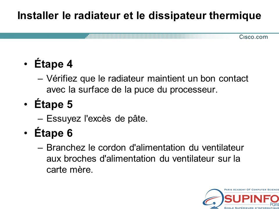 Installer le radiateur et le dissipateur thermique Étape 4 –Vérifiez que le radiateur maintient un bon contact avec la surface de la puce du processeur.