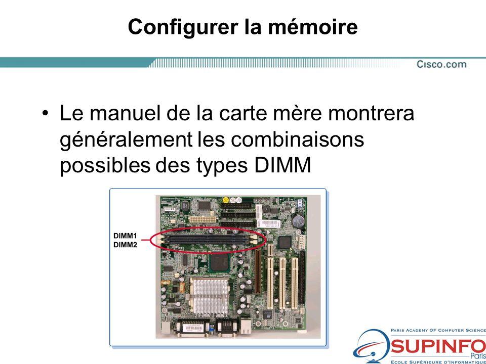 Configurer la mémoire Le manuel de la carte mère montrera généralement les combinaisons possibles des types DIMM