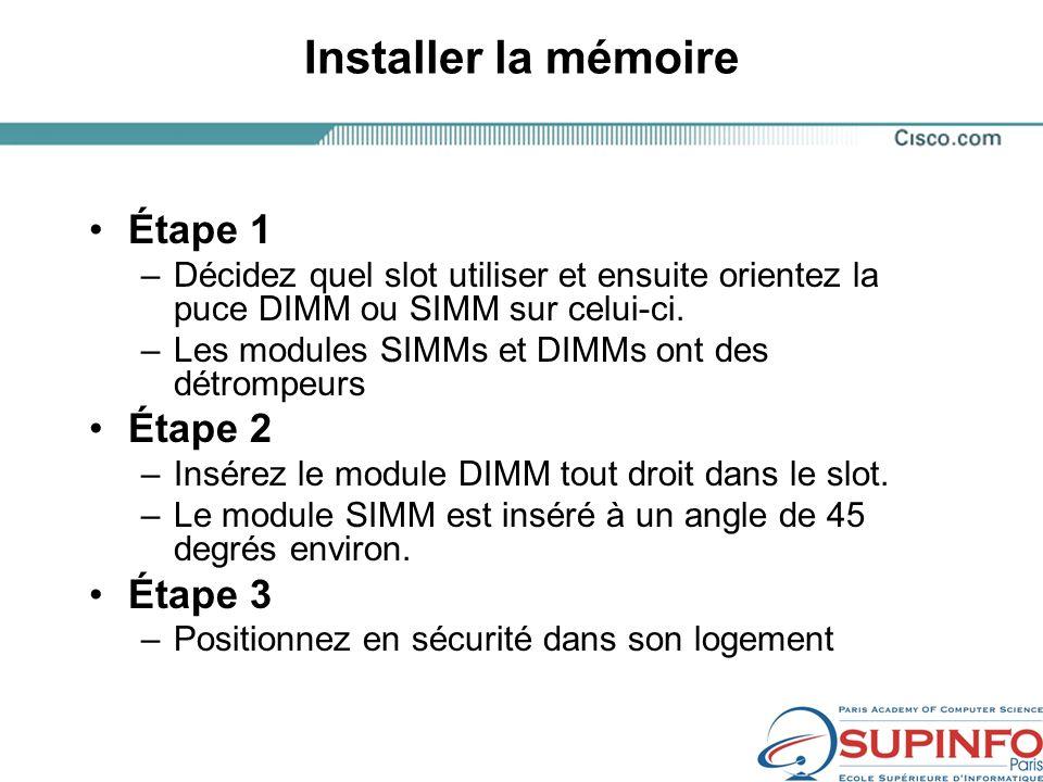 Installer la mémoire Étape 1 –Décidez quel slot utiliser et ensuite orientez la puce DIMM ou SIMM sur celui-ci.