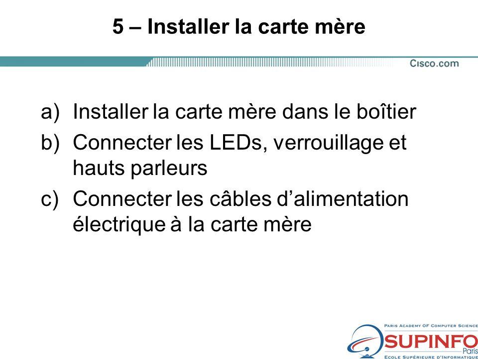 5 – Installer la carte mère a)Installer la carte mère dans le boîtier b)Connecter les LEDs, verrouillage et hauts parleurs c)Connecter les câbles dalimentation électrique à la carte mère