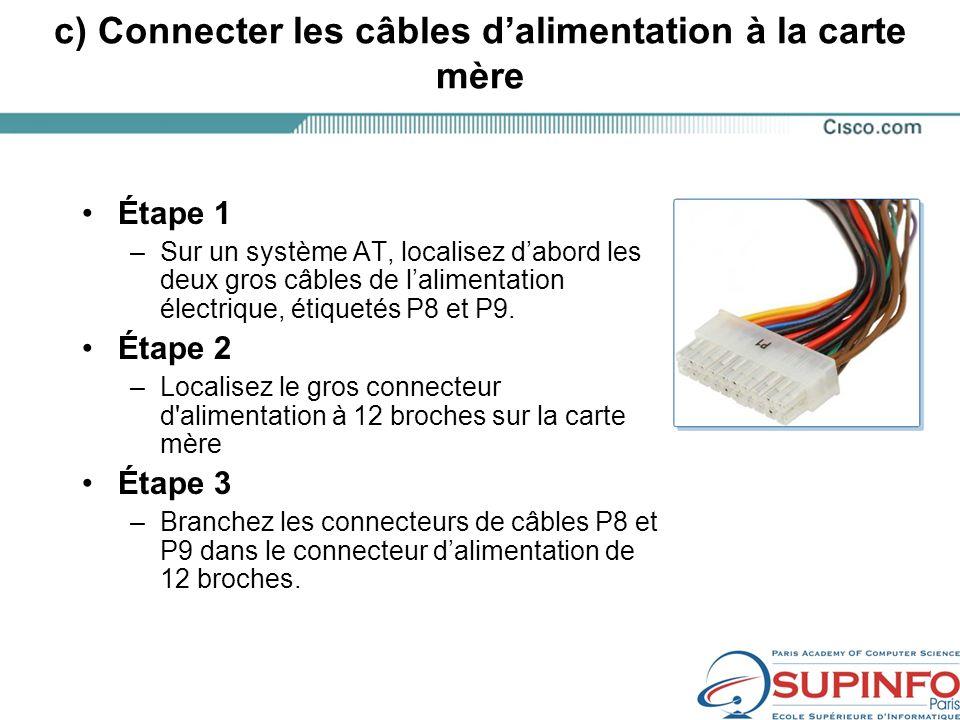 c) Connecter les câbles dalimentation à la carte mère Étape 1 –Sur un système AT, localisez dabord les deux gros câbles de lalimentation électrique, étiquetés P8 et P9.