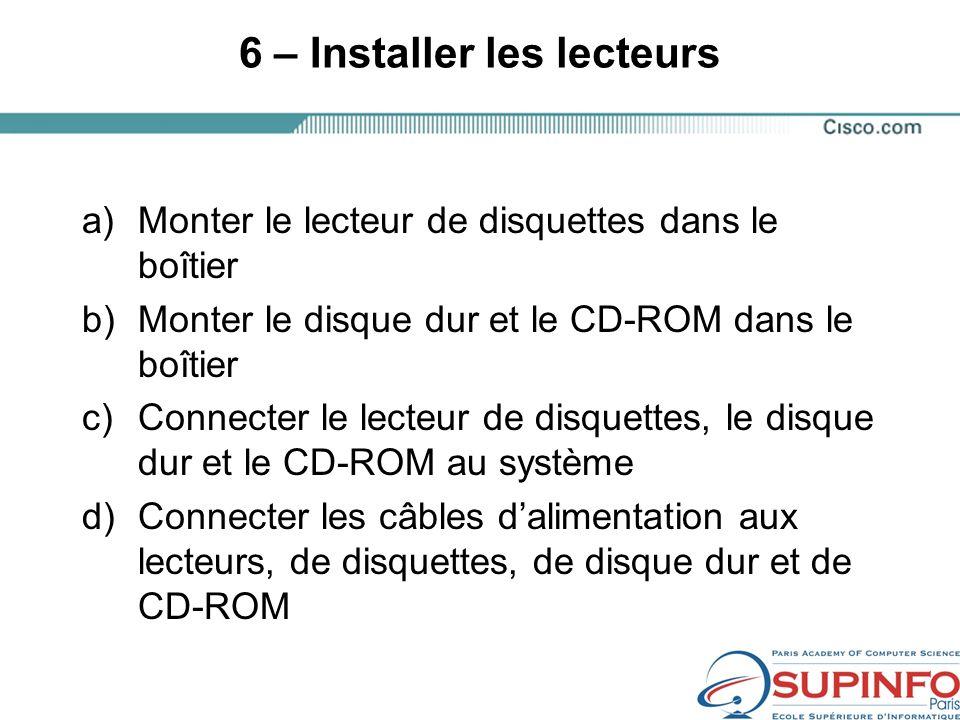 6 – Installer les lecteurs a)Monter le lecteur de disquettes dans le boîtier b)Monter le disque dur et le CD-ROM dans le boîtier c)Connecter le lecteur de disquettes, le disque dur et le CD-ROM au système d)Connecter les câbles dalimentation aux lecteurs, de disquettes, de disque dur et de CD-ROM