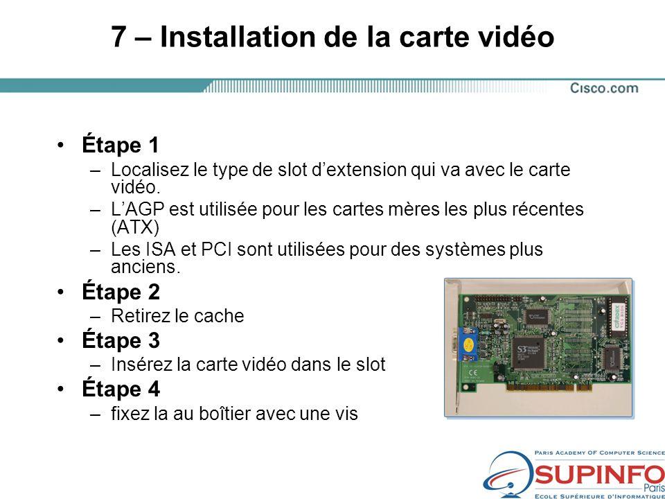 7 – Installation de la carte vidéo Étape 1 –Localisez le type de slot dextension qui va avec le carte vidéo.
