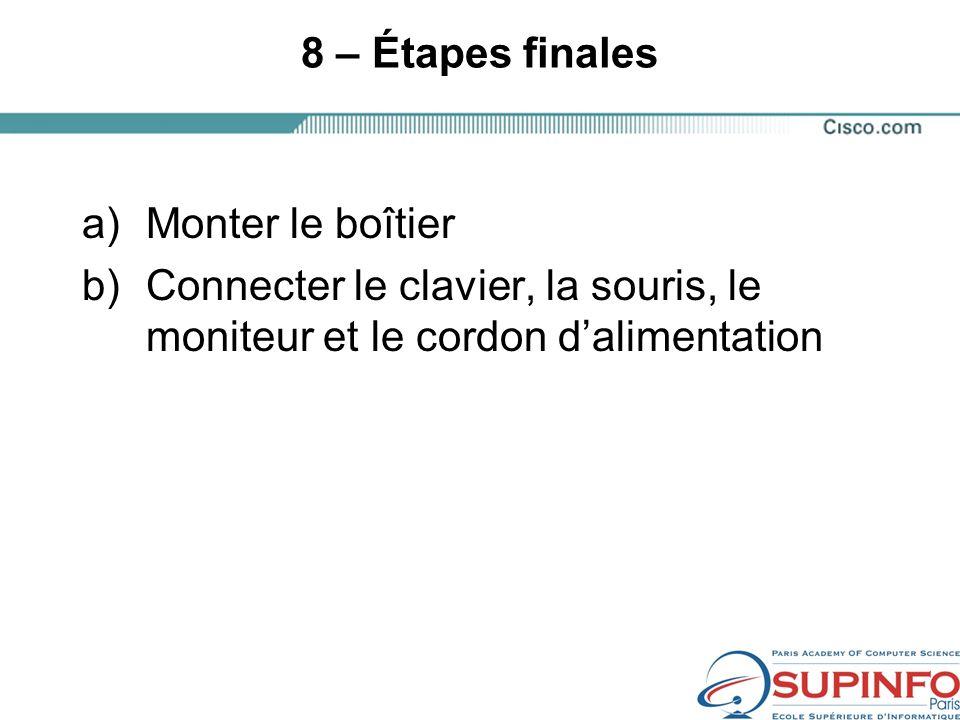 8 – Étapes finales a)Monter le boîtier b)Connecter le clavier, la souris, le moniteur et le cordon dalimentation