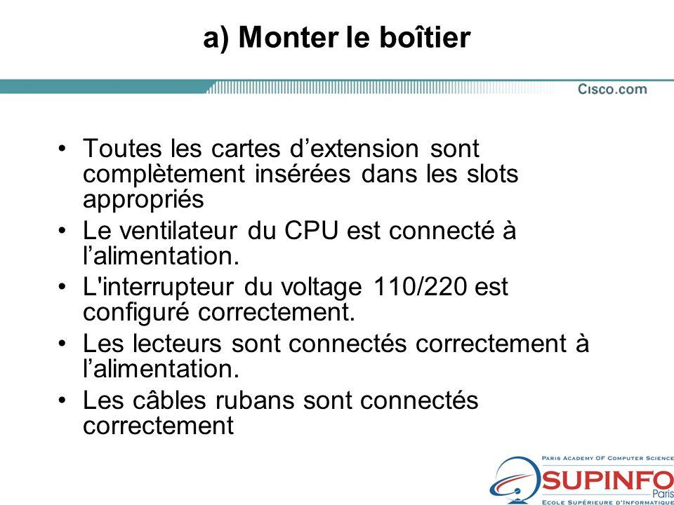 a) Monter le boîtier Toutes les cartes dextension sont complètement insérées dans les slots appropriés Le ventilateur du CPU est connecté à lalimentation.