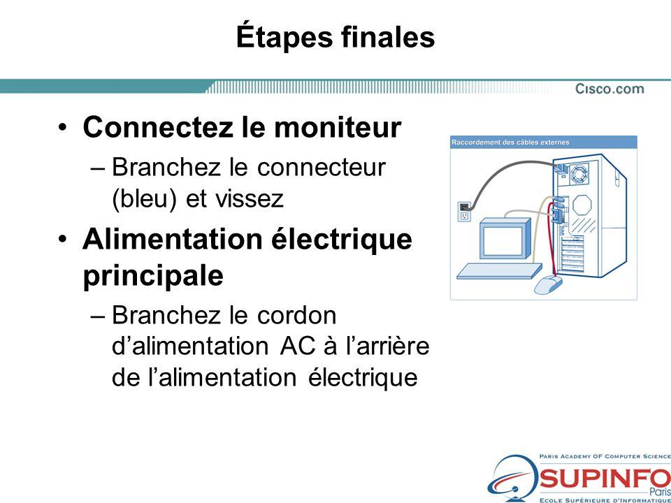 Étapes finales Connectez le moniteur –Branchez le connecteur (bleu) et vissez Alimentation électrique principale –Branchez le cordon dalimentation AC à larrière de lalimentation électrique