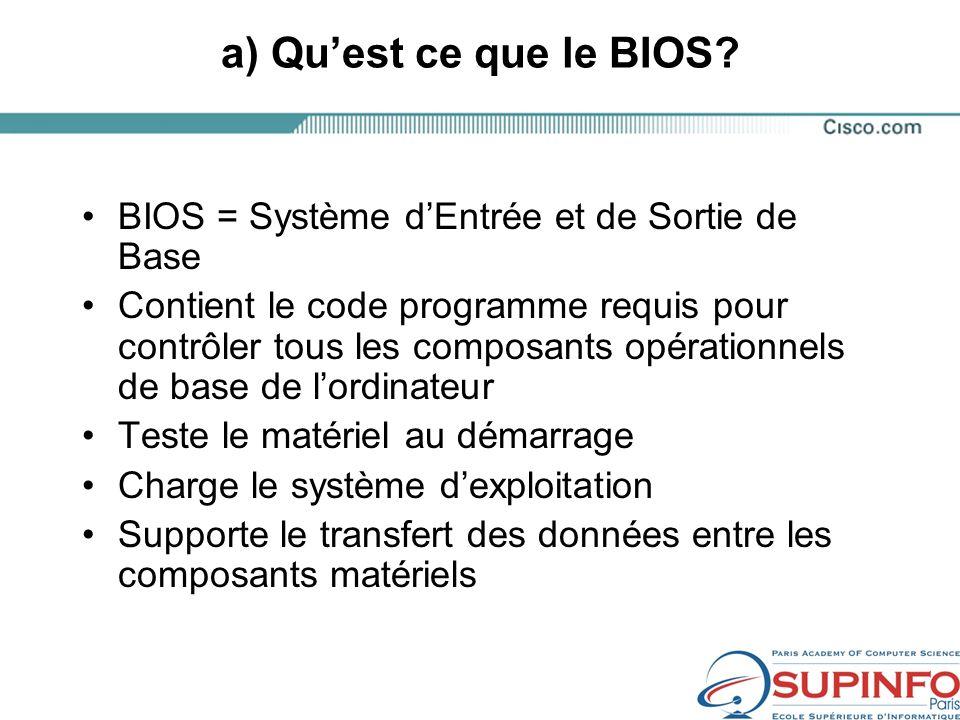 a) Quest ce que le BIOS.