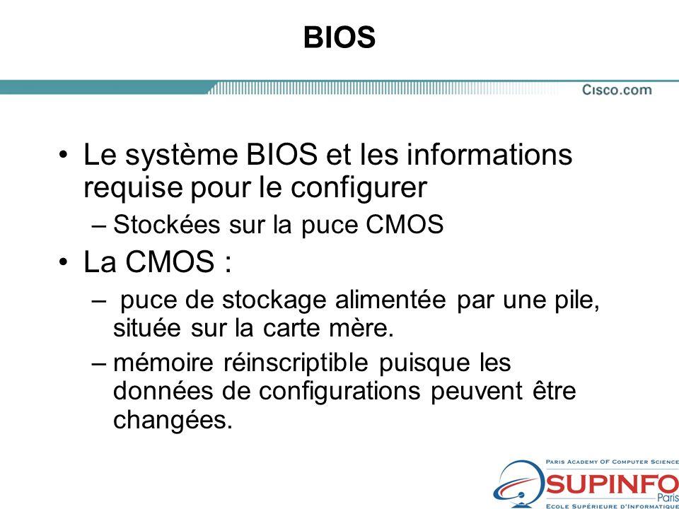 BIOS Le système BIOS et les informations requise pour le configurer –Stockées sur la puce CMOS La CMOS : – puce de stockage alimentée par une pile, située sur la carte mère.