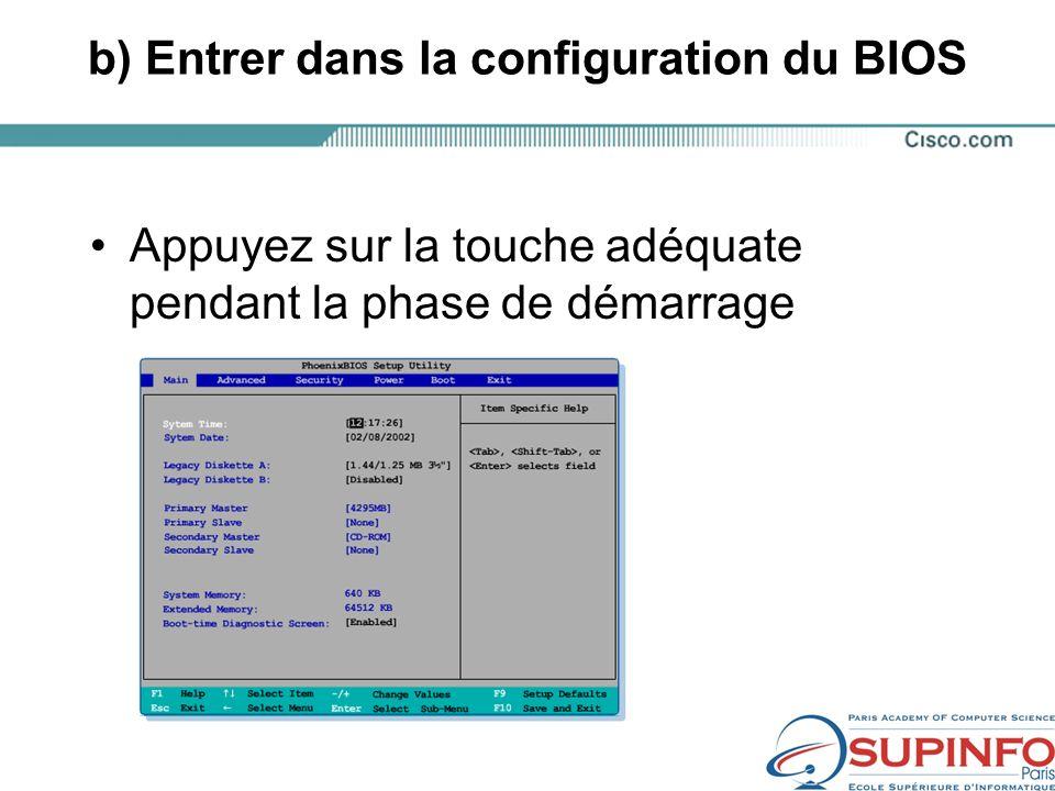 b) Entrer dans la configuration du BIOS Appuyez sur la touche adéquate pendant la phase de démarrage
