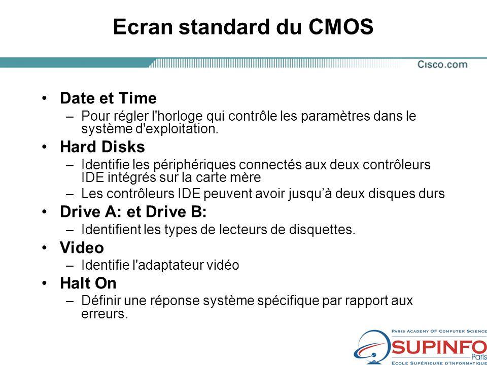Ecran standard du CMOS Date et Time –Pour régler l horloge qui contrôle les paramètres dans le système d exploitation.