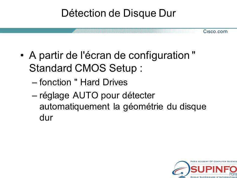 Détection de Disque Dur A partir de l écran de configuration Standard CMOS Setup : –fonction Hard Drives –réglage AUTO pour détecter automatiquement la géométrie du disque dur