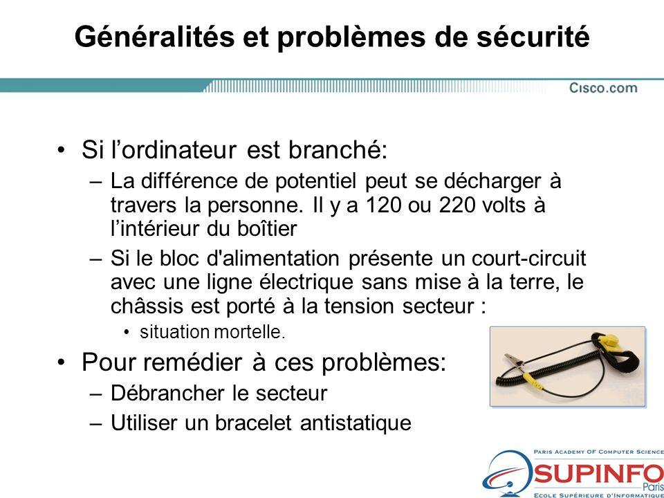Généralités et problèmes de sécurité Si lordinateur est branché: –La différence de potentiel peut se décharger à travers la personne.