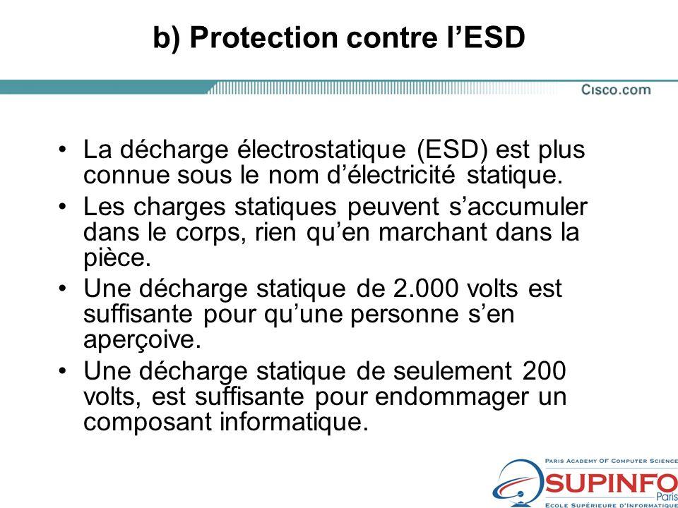 b) Protection contre lESD La décharge électrostatique (ESD) est plus connue sous le nom délectricité statique.