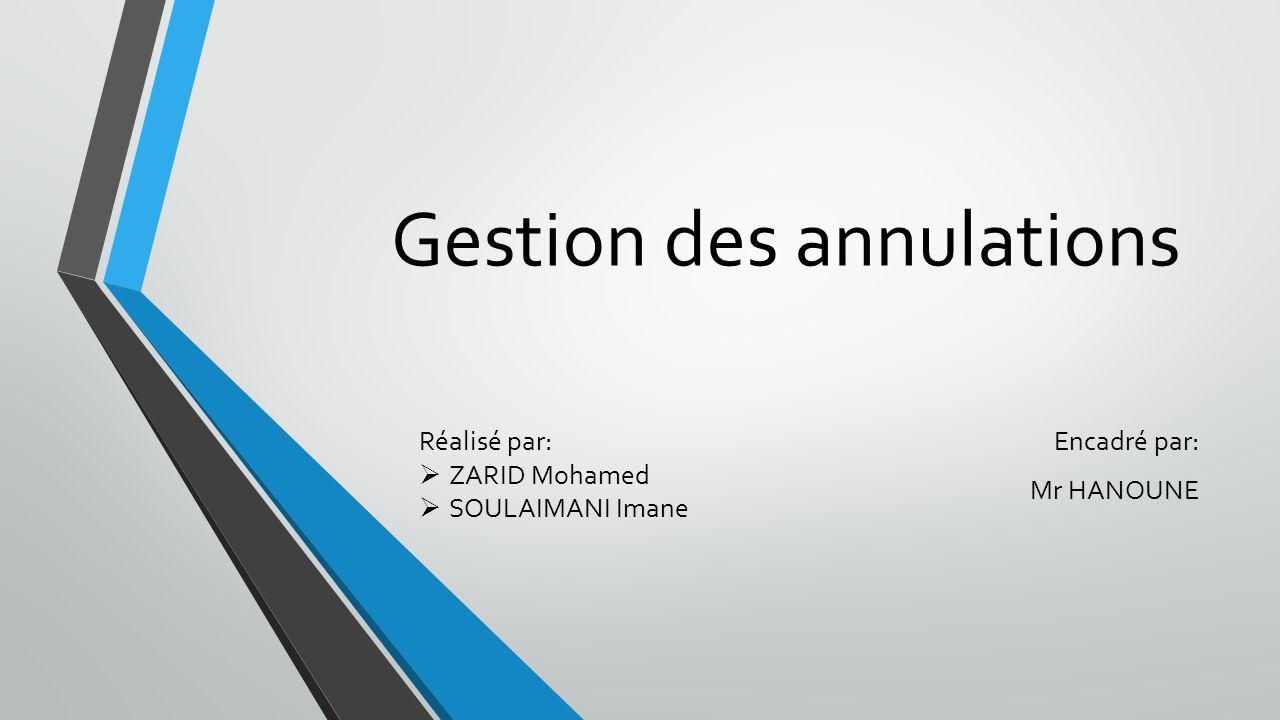 Gestion des annulations Encadré par: Mr HANOUNE Réalisé par: ZARID Mohamed SOULAIMANI Imane