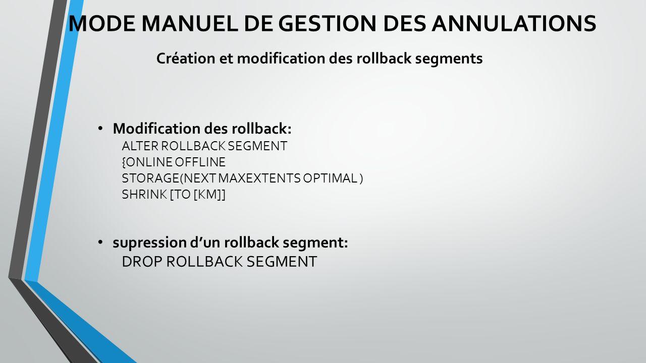 MODE MANUEL DE GESTION DES ANNULATIONS Création et modification des rollback segments Modification des rollback: ALTER ROLLBACK SEGMENT {ONLINE OFFLINE STORAGE(NEXT MAXEXTENTS OPTIMAL ) SHRINK [TO [KM]] supression dun rollback segment: DROP ROLLBACK SEGMENT