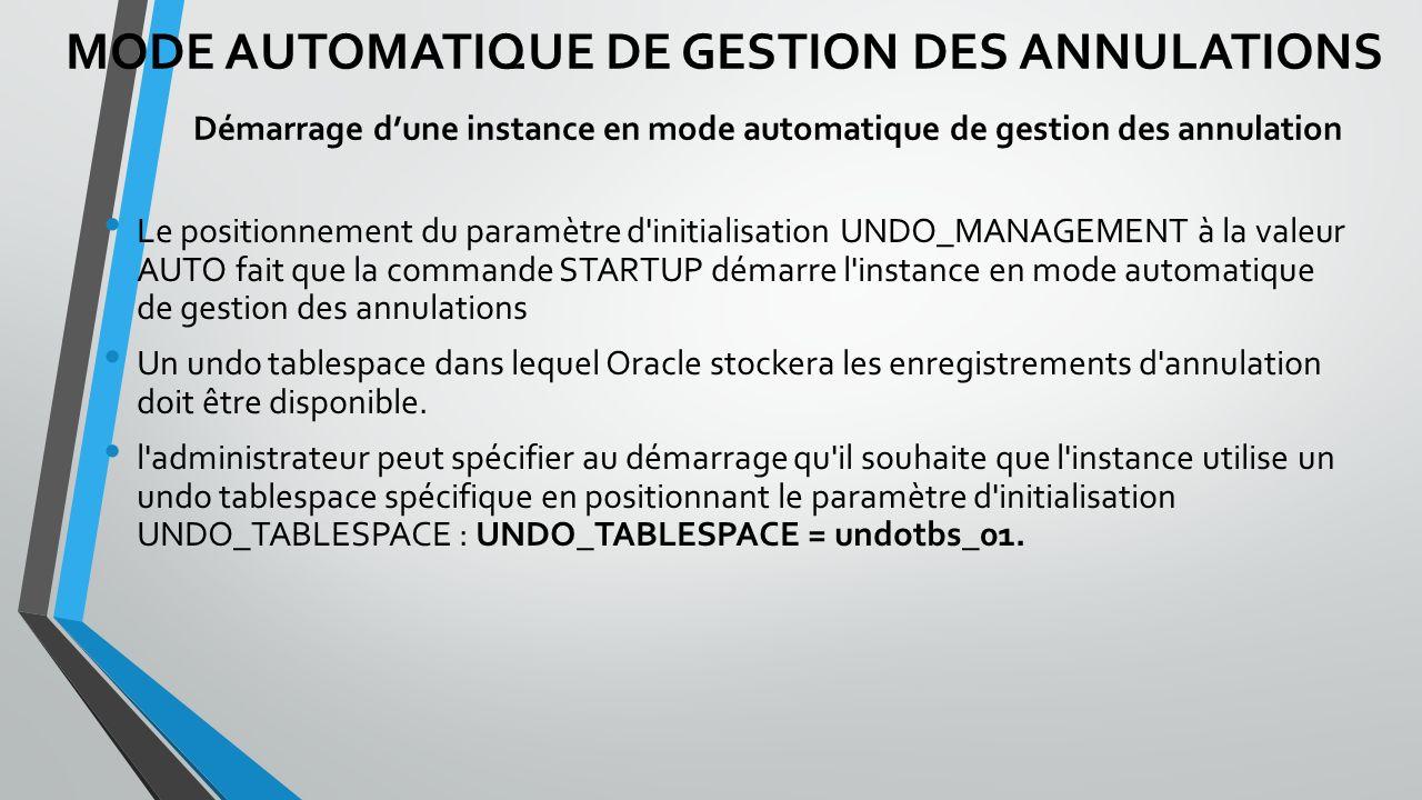 Le positionnement du paramètre d initialisation UNDO_MANAGEMENT à la valeur AUTO fait que la commande STARTUP démarre l instance en mode automatique de gestion des annulations Un undo tablespace dans lequel Oracle stockera les enregistrements d annulation doit être disponible.