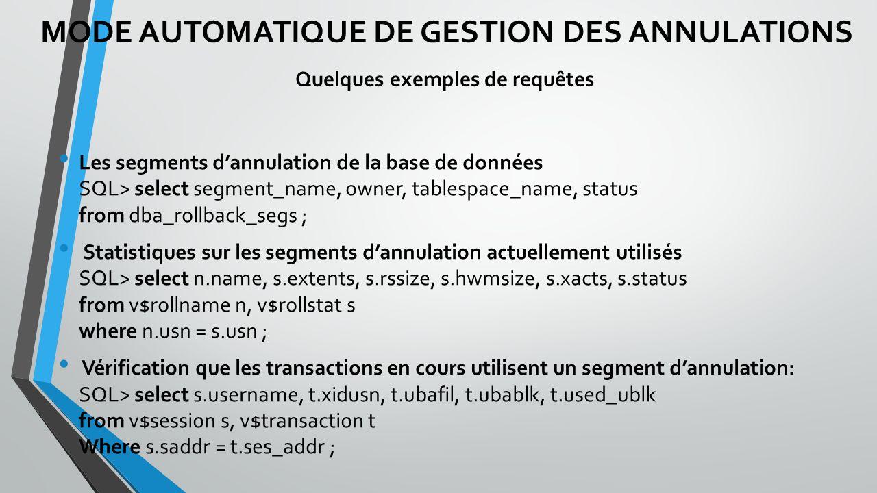 Les segments dannulation de la base de données SQL> select segment_name, owner, tablespace_name, status from dba_rollback_segs ; Statistiques sur les segments dannulation actuellement utilisés SQL> select n.name, s.extents, s.rssize, s.hwmsize, s.xacts, s.status from v$rollname n, v$rollstat s where n.usn = s.usn ; Vérification que les transactions en cours utilisent un segment dannulation: SQL> select s.username, t.xidusn, t.ubafil, t.ubablk, t.used_ublk from v$session s, v$transaction t Where s.saddr = t.ses_addr ; MODE AUTOMATIQUE DE GESTION DES ANNULATIONS Quelques exemples de requêtes