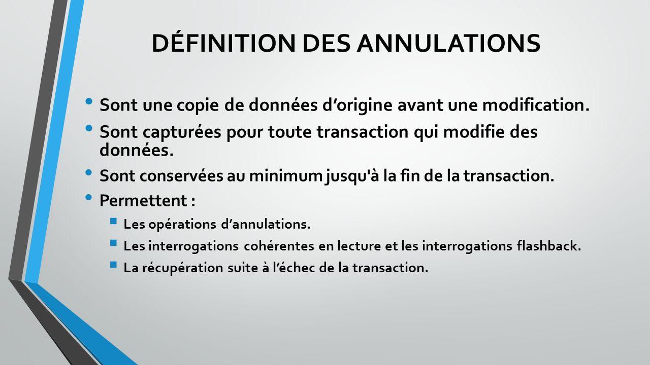DÉFINITION DES ANNULATIONS Sont une copie de données dorigine avant une modification.