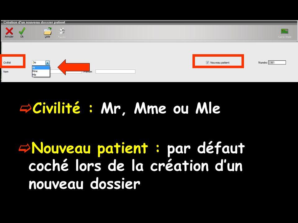 Civilité : Mr, Mme ou Mle Nouveau patient : par défaut coché lors de la création dun nouveau dossier
