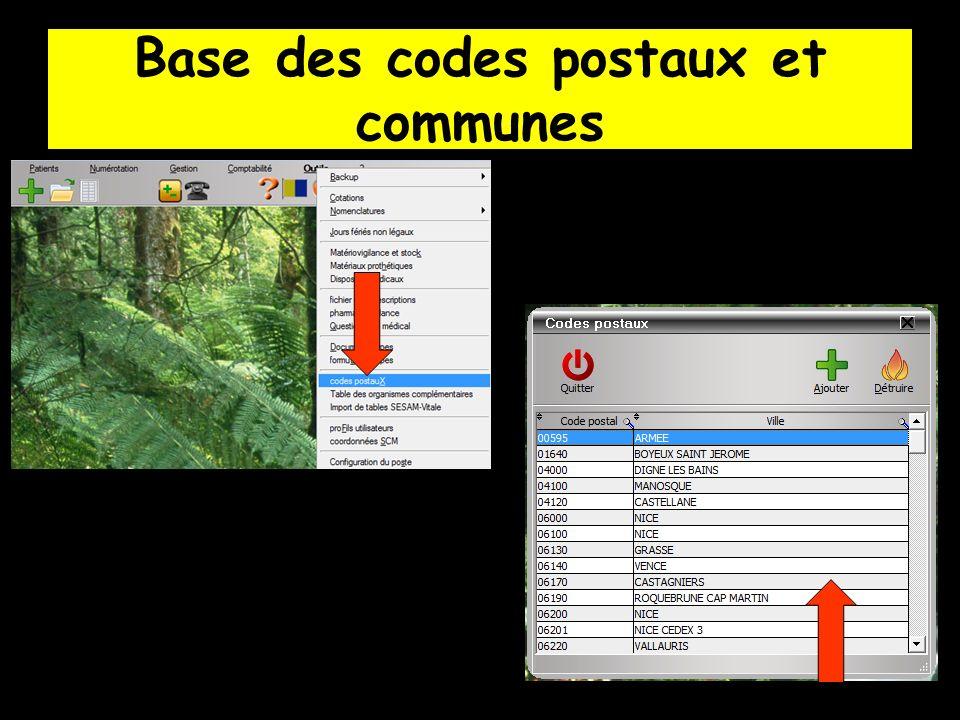 Base des codes postaux et communes