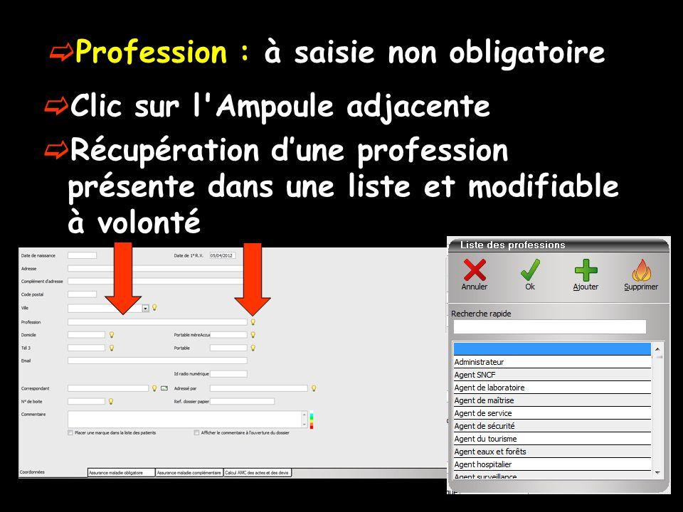 Profession : à saisie non obligatoire Clic sur l Ampoule adjacente Récupération dune profession présente dans une liste et modifiable à volonté