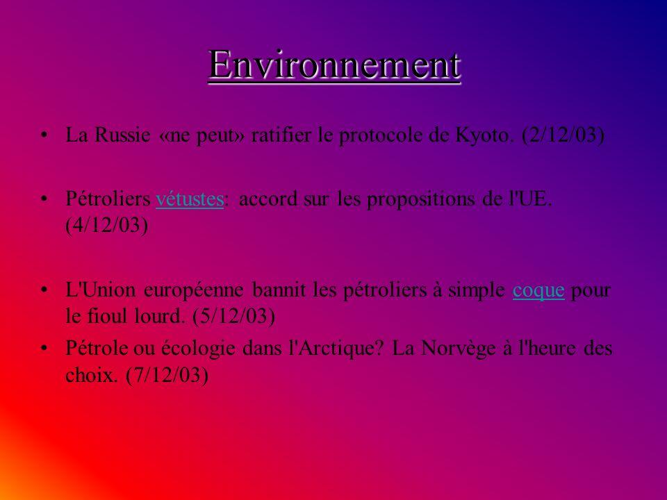 Environnement La Russie «ne peut» ratifier le protocole de Kyoto.